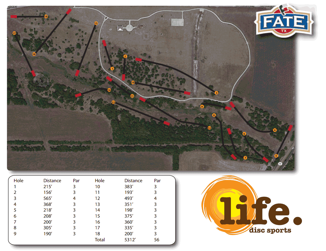 Final layout of disc golf course