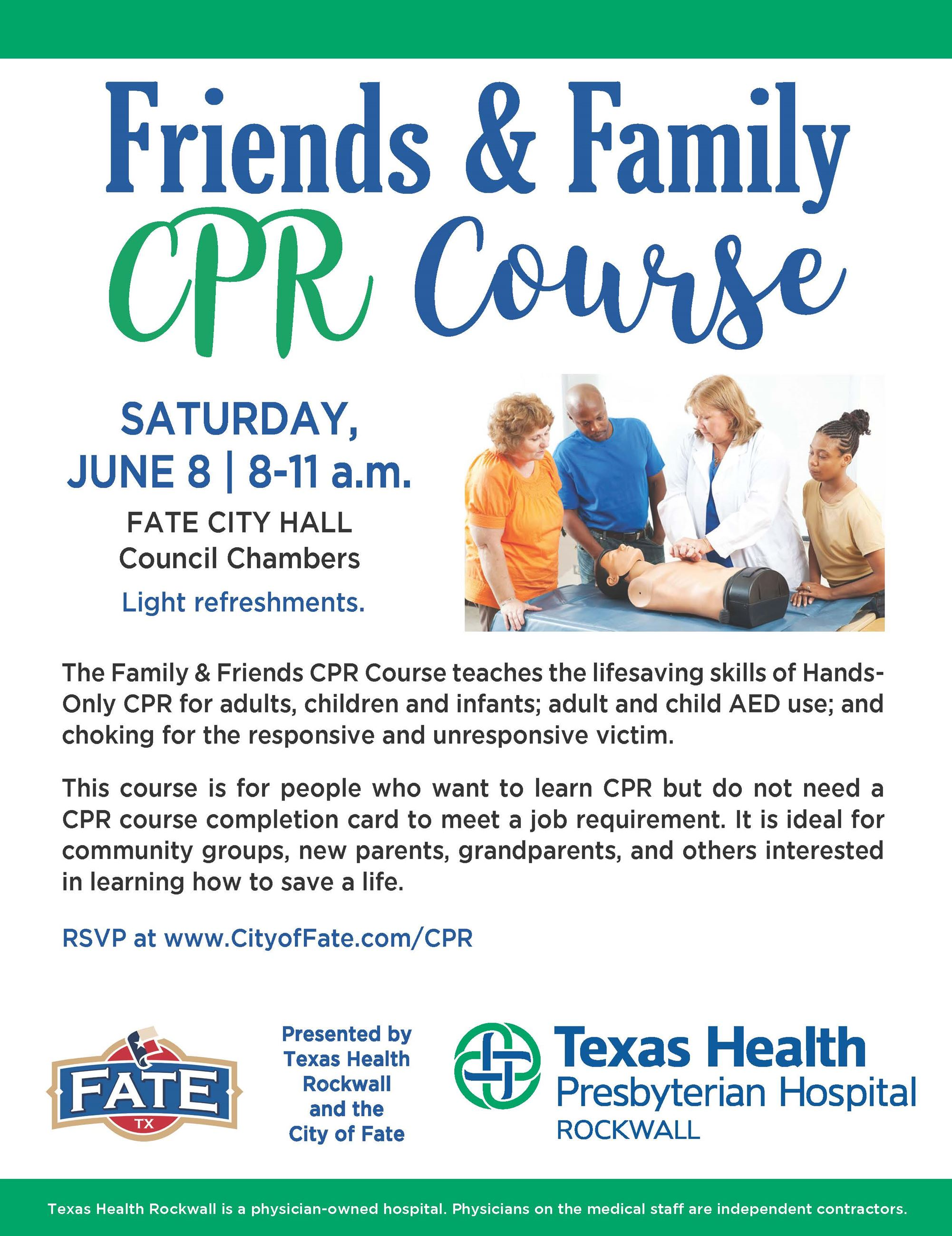 Friends and Family CPR Event flyer