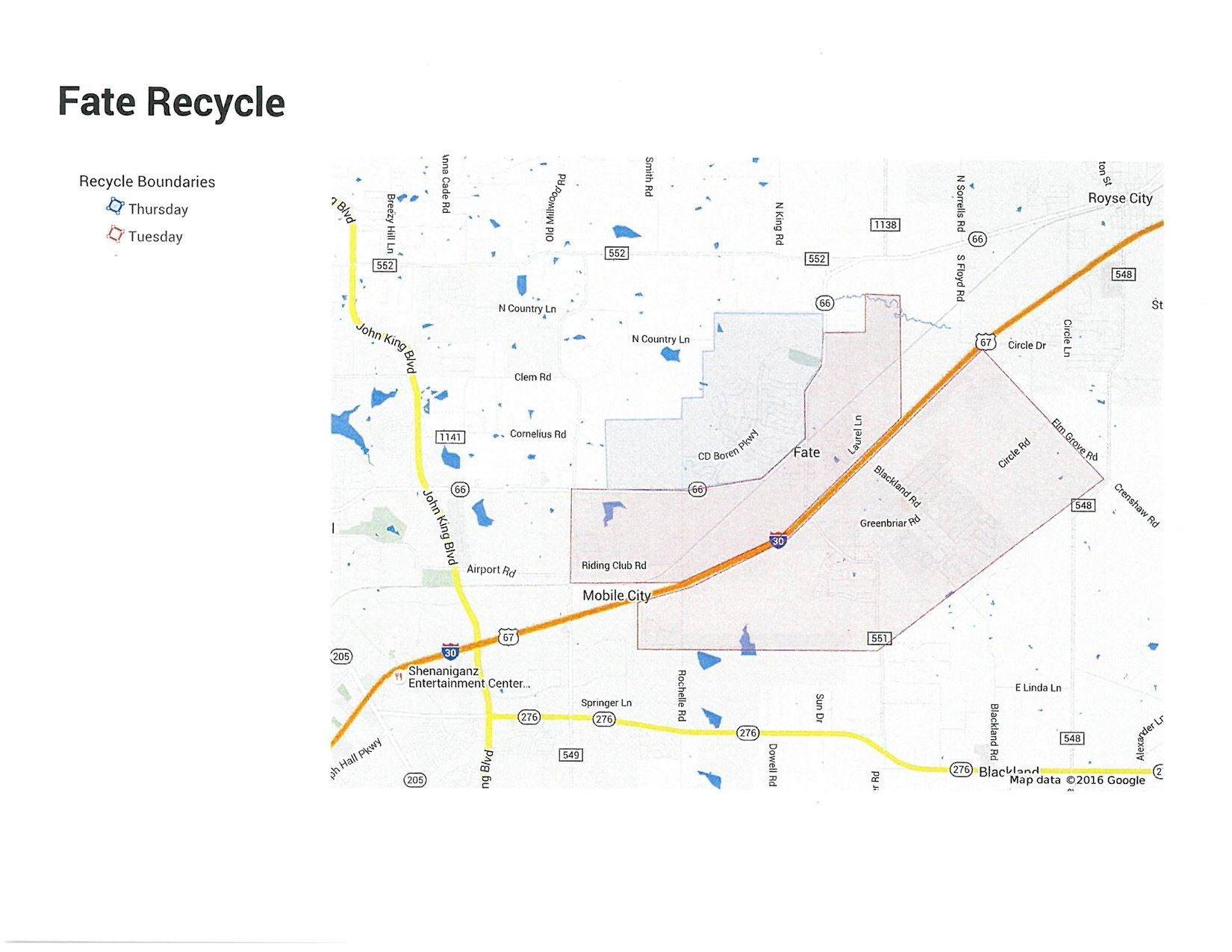 2016 Recycling Map Schedule