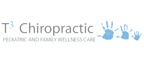T3 Chiropractic logo - words with three blue hands