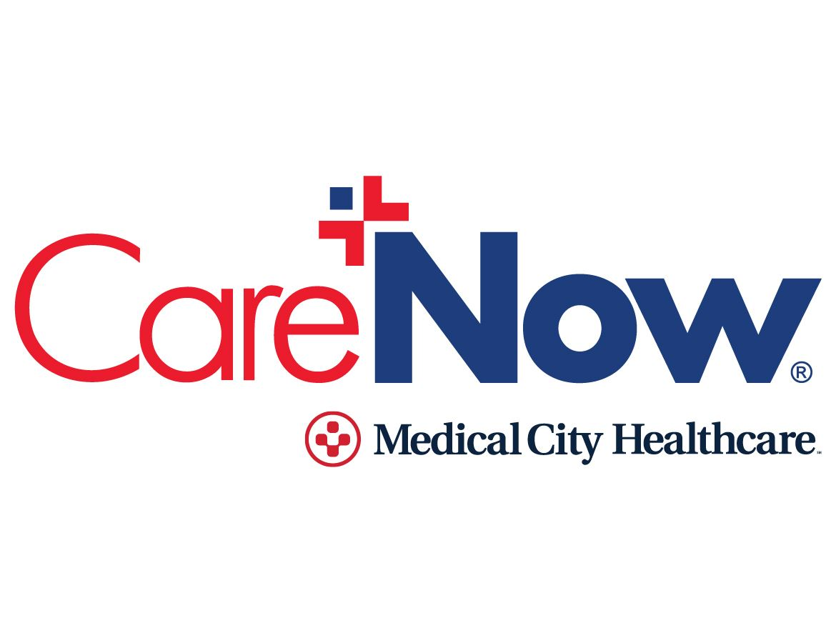 CareNow Logo - words and squares that make a person like shape