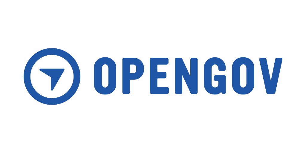OpenGov Logo - blue words with a circle and an arrow