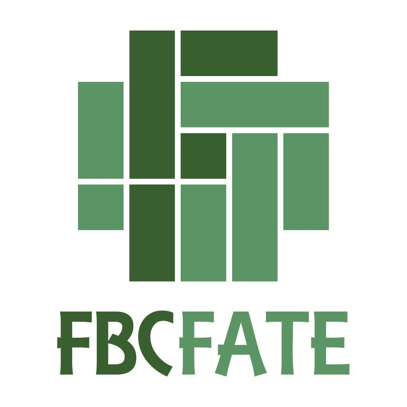 First Baptist Church of Fate logo green boxes in the shape of an F with words