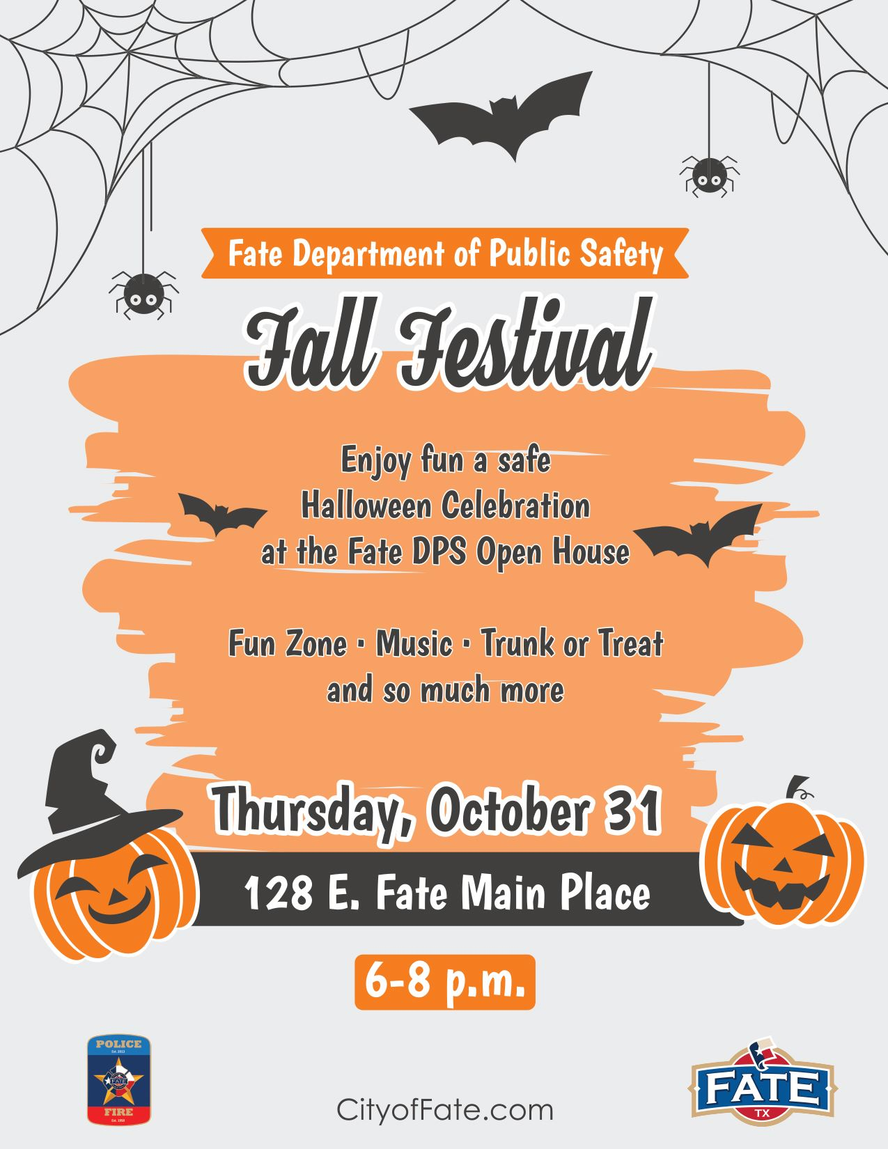 2019 Fall Festival Poster with Pumpkins and spiders
