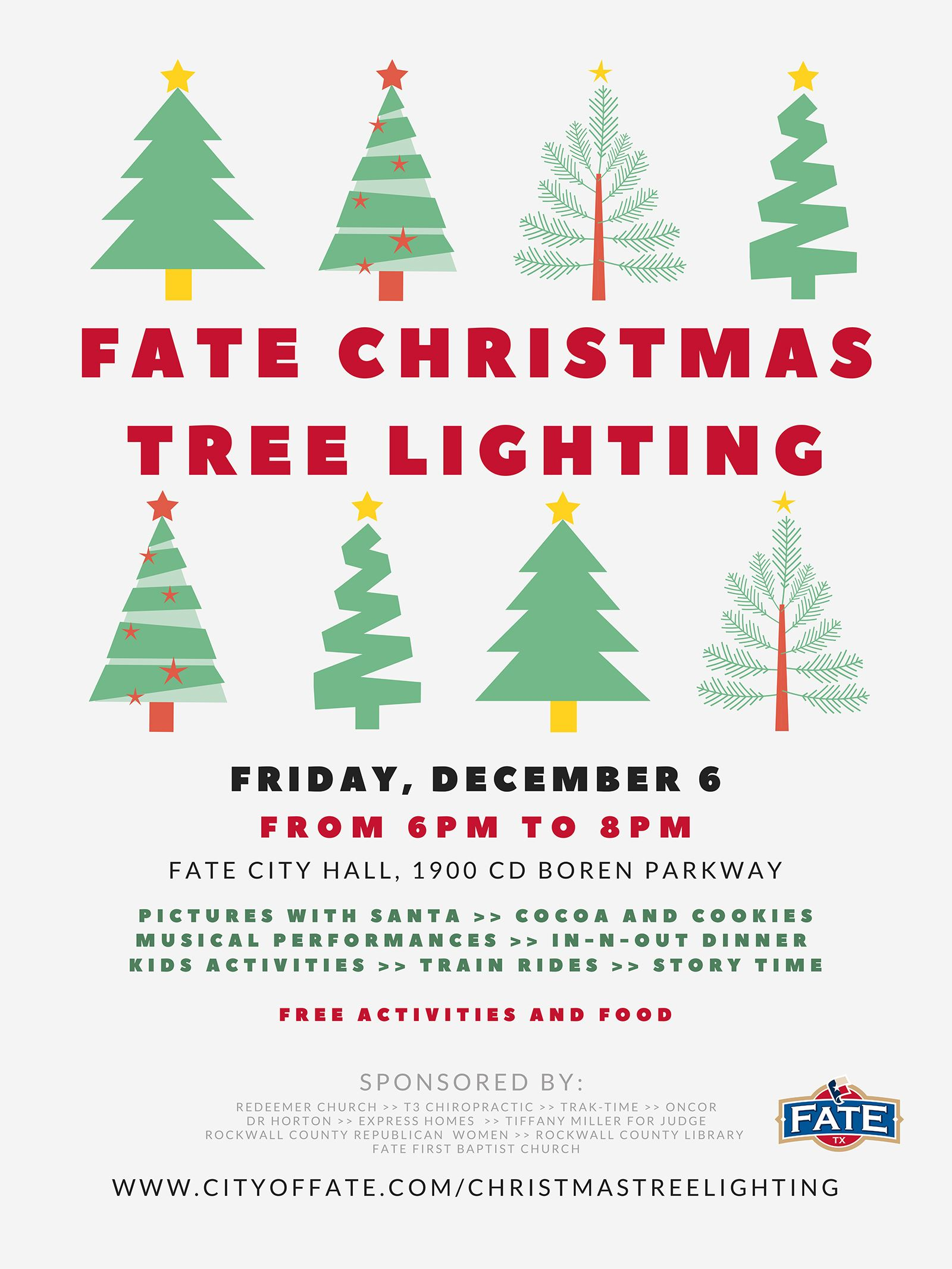 Fate Christmas Tree Lighting Poster - Words with Green trees