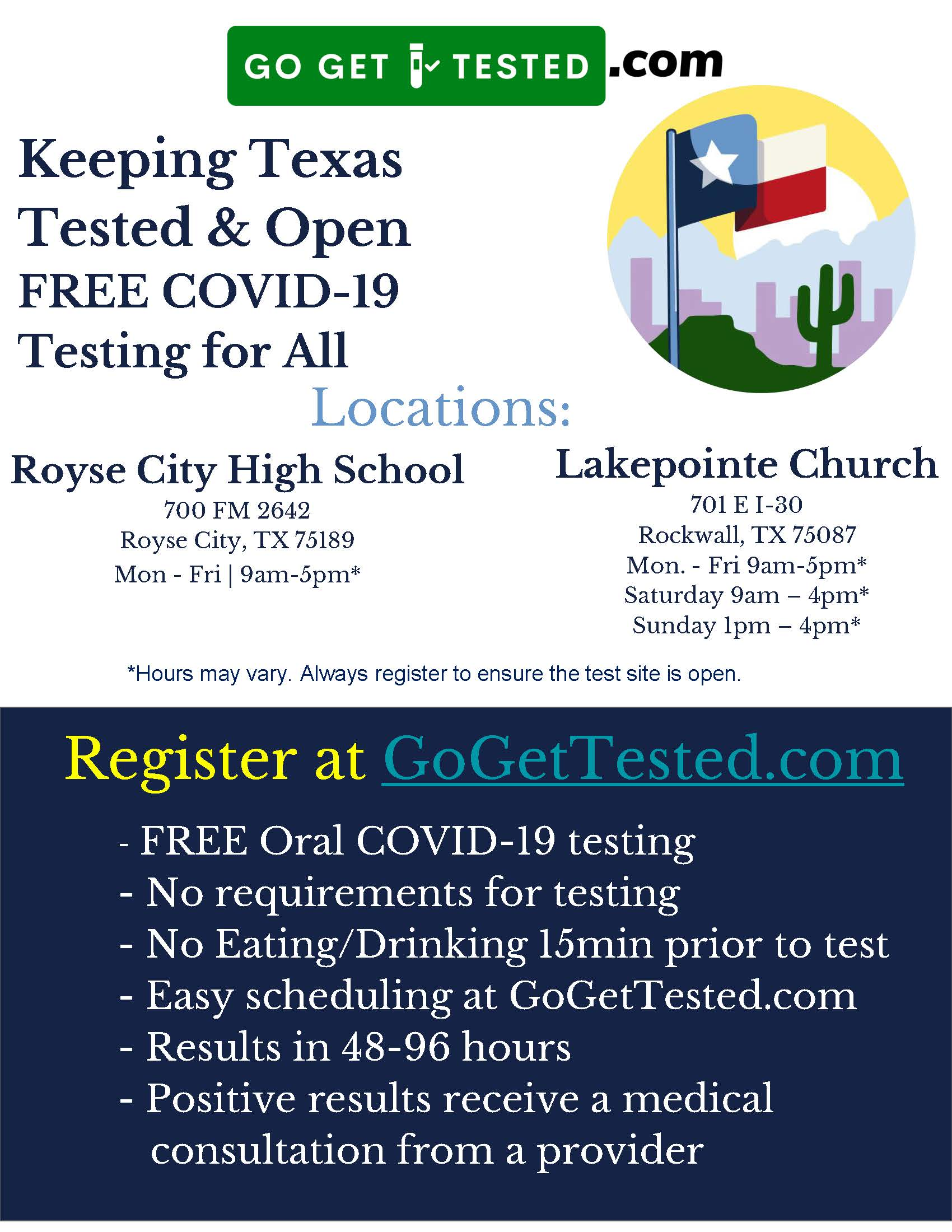 2020-11 - Royse City High School and Lakepointe Church Testing Sites for Covid 19 Flyer
